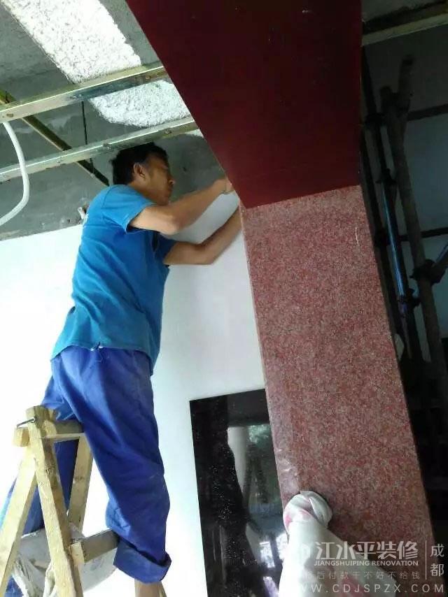 成都皇家别墅装修改造吊顶施工中