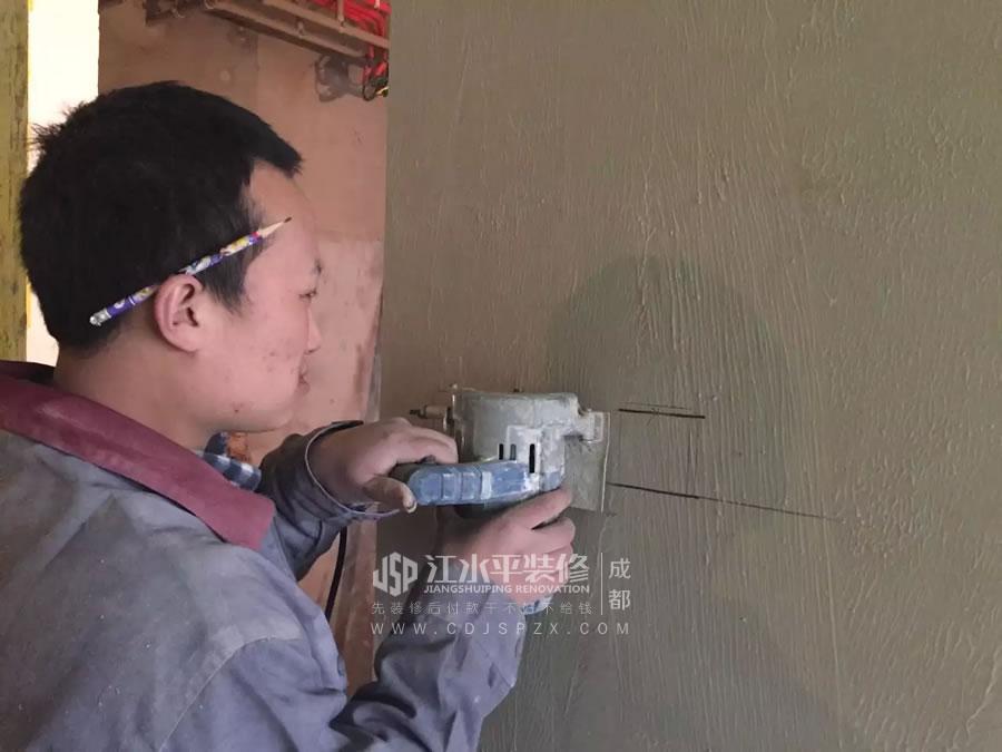 成都南城都汇杨姐家装修施工主卫的暗藏滑门基层