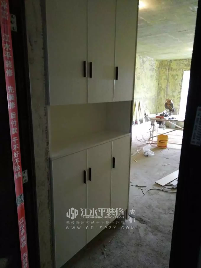 成都锦尚春天毛毛家装修现场制作木作完工