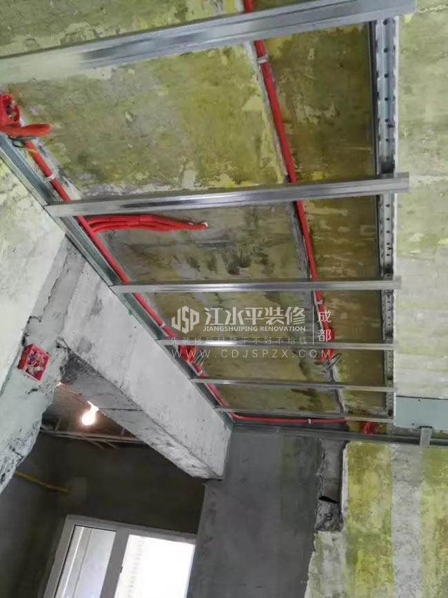 成都建设派客厅轻钢龙骨吊顶施工
