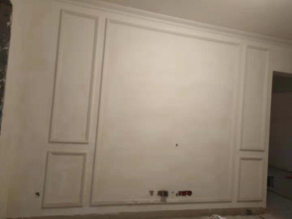 成都蜀镇观澜湖装修日记案例电视墙乳胶漆基层完工